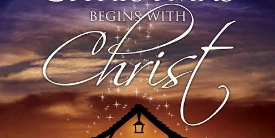 a setting sun with a dramatic sky of clouds with a bright star twinkling down on a small nativity scene with the text Christmas begins with Christ