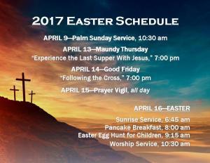 2017 Easter Schedule Postcard