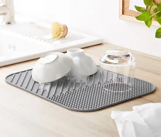 tapis egouttoir a vaisselle en silicone
