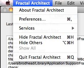 Fractal Architect menu