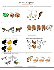 Printables Fractions Of A Set Worksheets fractions worksheets understanding adding applied to group of animals