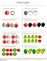 Printables Fractions Of A Set Worksheets fractions worksheets understanding adding applied to group of fruits