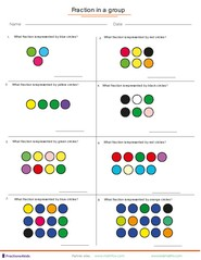 Printables Fractions Of A Set Worksheets fractions worksheets understanding adding in a mixed group of dots
