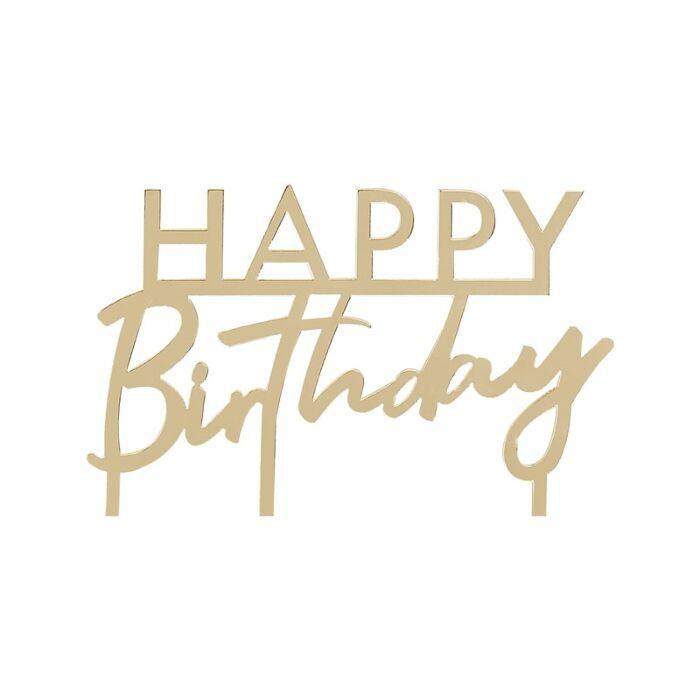 Cake Topper Happy Birthday Gold Acryl Fraulein K Sagt Ja Partyshop