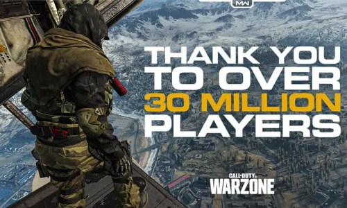 Call of Duty Warzone game image with text over celebrating 30 million players