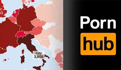 Map of Europe showing spread of Coronavirus and Pornhub logo