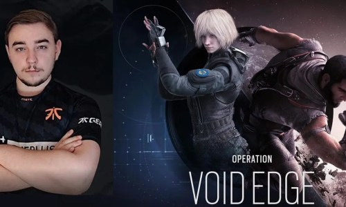Male gamer with arms crossed and poster of Iana and Oryx for Rainbow Six Siege's Year 5 Void Edge