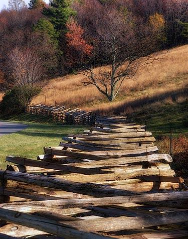 Rail fence Blue Ridge Parkway Floyd County, Virginia November 2007