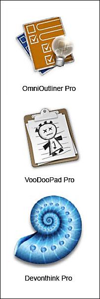 Omnioutliner, VooDooPad, and Devonthink