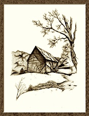 Pen and ink drawing of our barn by Ron Campbell