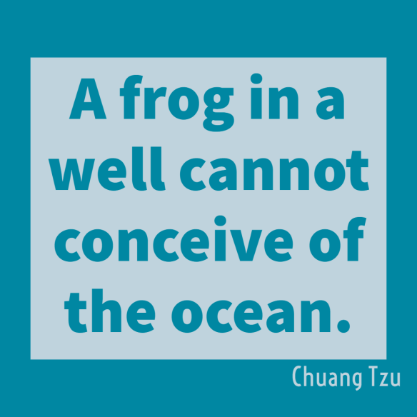 A frog in a well cannot conceive of the ocean.