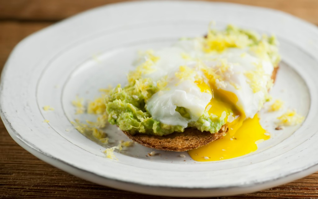 lemon avocado toast with poached egg