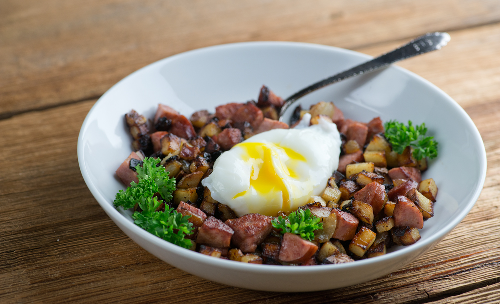 Sausage Hash with Poached Eggs