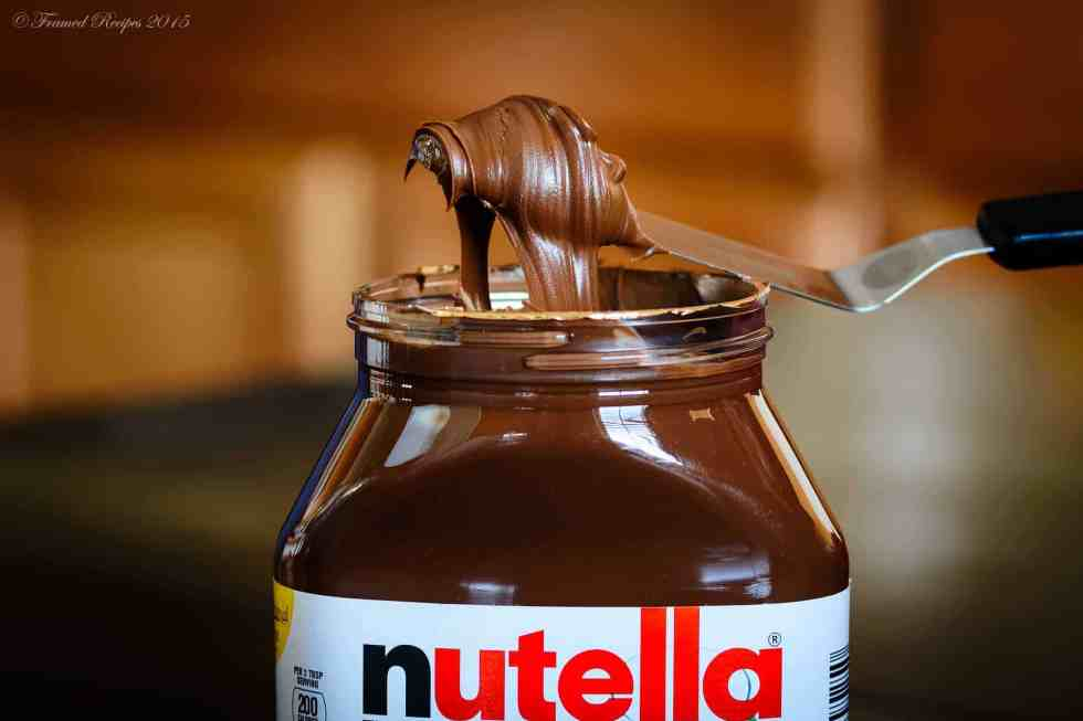 nutella scooped with a small bread knife.