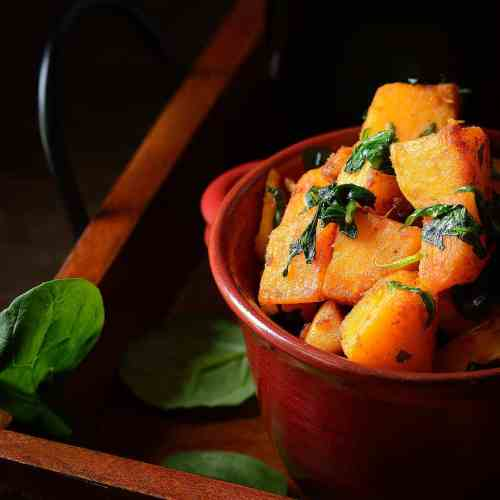 Pan Roasted Butternut Squash with Baby Spinach