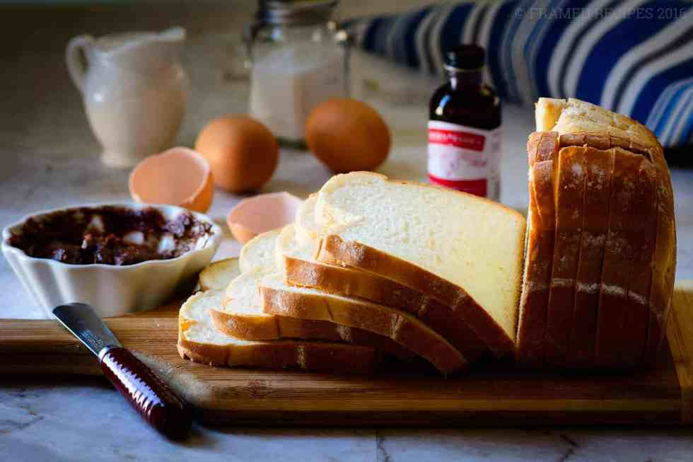 ingredients for Nutella Cream Cheese French Toast - eggs, cream cheese with nutella, a little milk.  and bread slices.