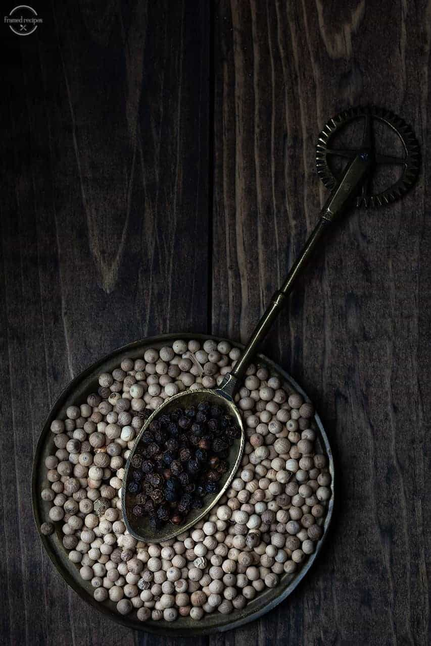 black and while peppercorns.