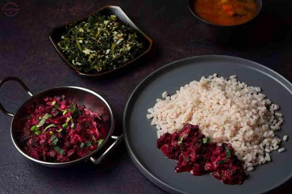 beetroot aviyal served with kale thoran, red matta rice and sambhar.