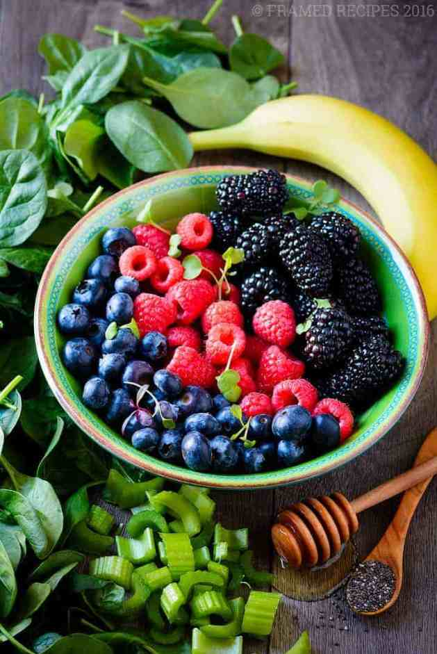 fruits and berries needed to make Spinach Berry Smoothie.