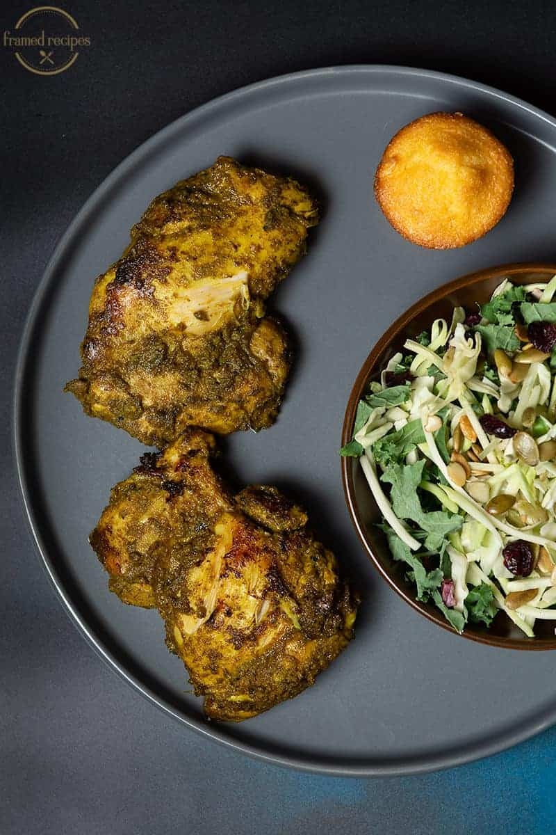 green chutney flavored chicken thighs serving suggestions