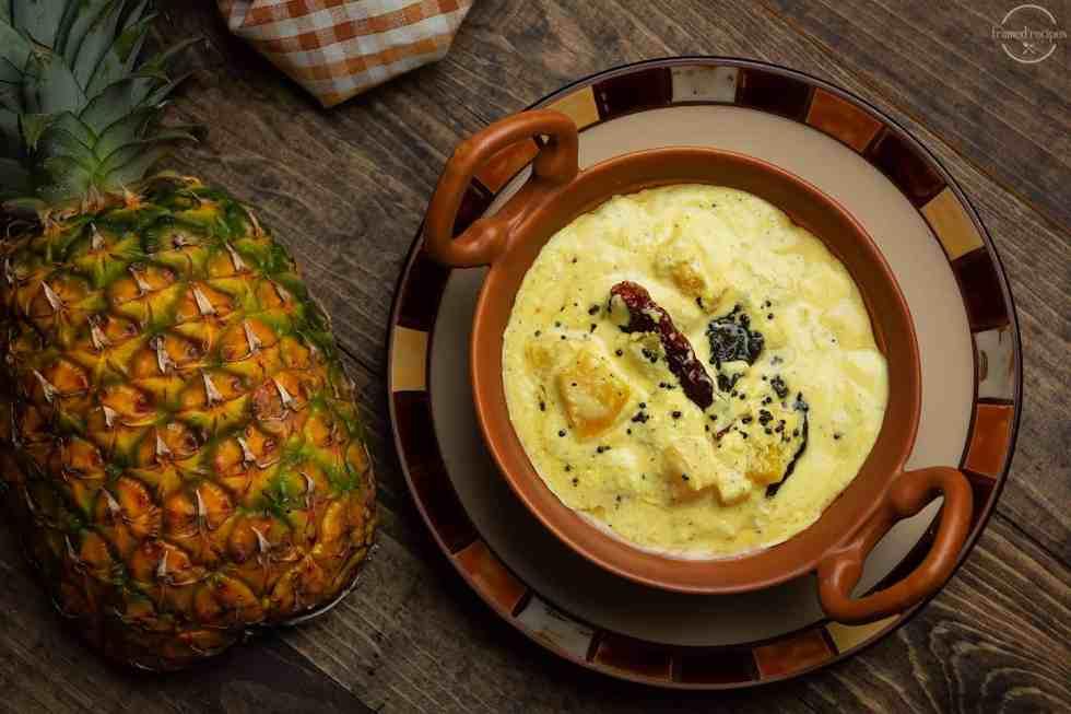 kerala sadya item- pachadi made with pineapple