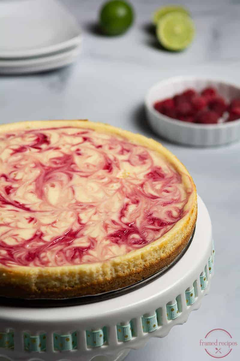 baked cheesecake with raspberry swirls