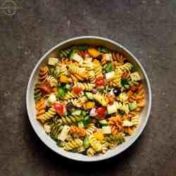 pasta salad perfect for summer picnics or barbecues.