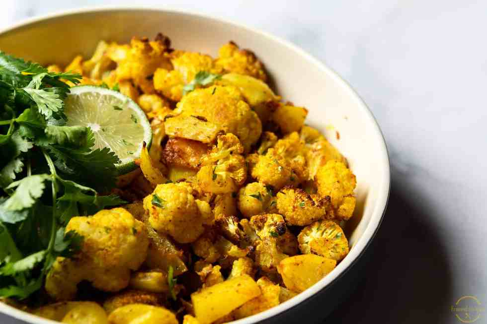 cauliflower & potato baked in the oven with Indian spices