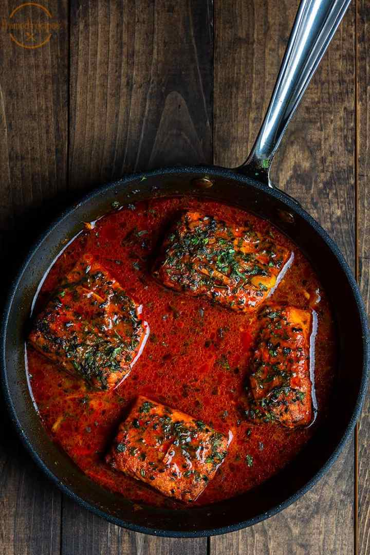 salmon curry in Bengali style