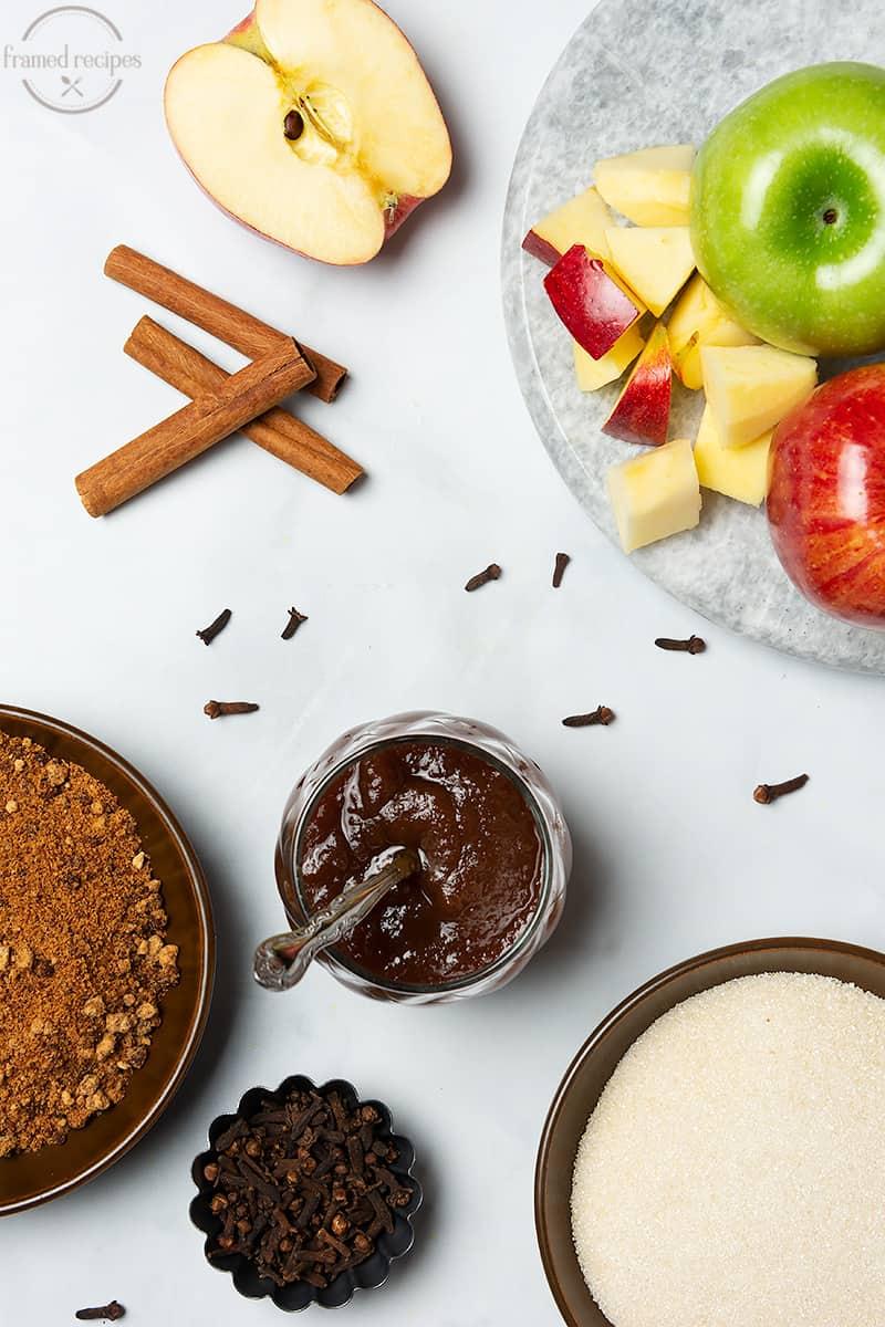 apple spread ingredients - apples, sugar, brown sugar, cinnamon, cloves