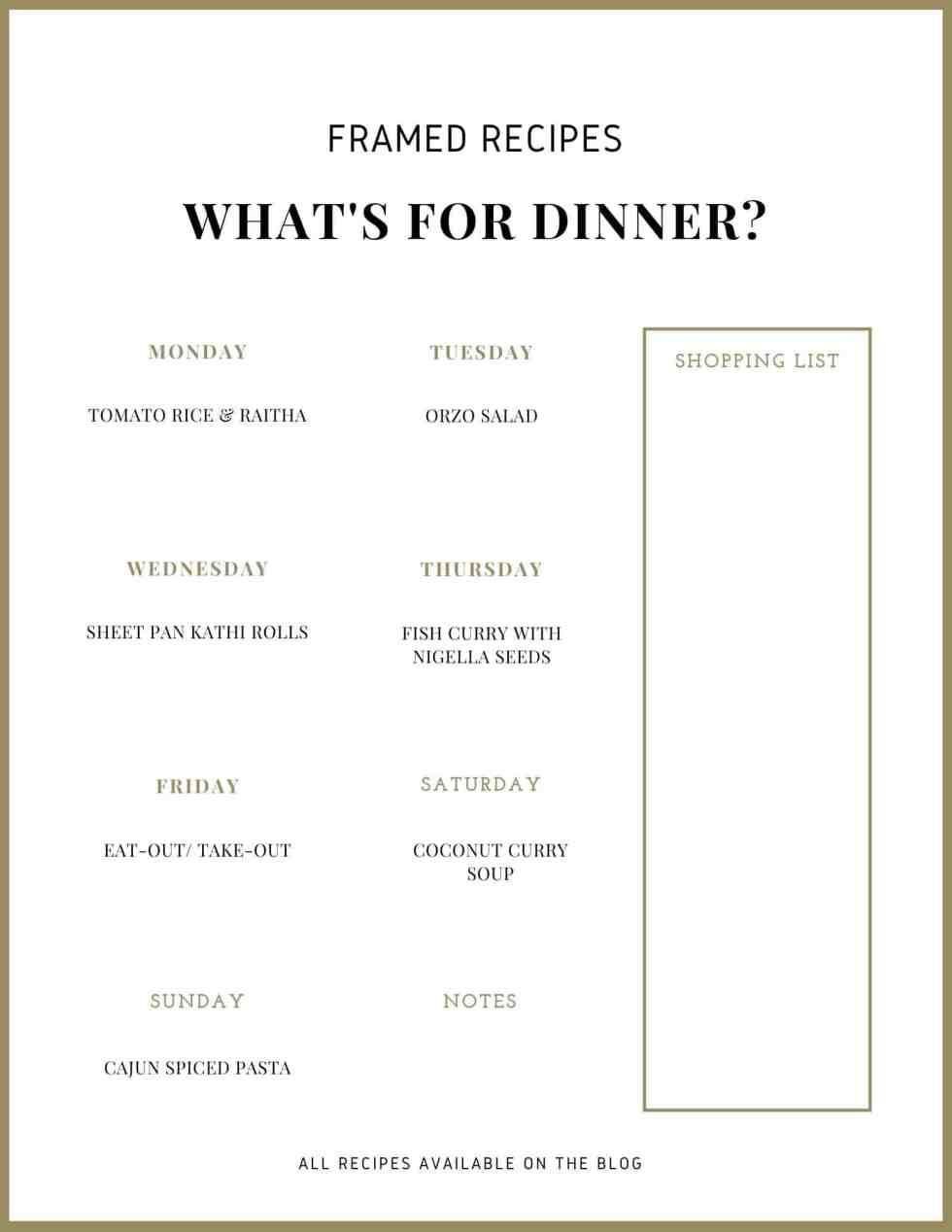 weekly meal plan number 9