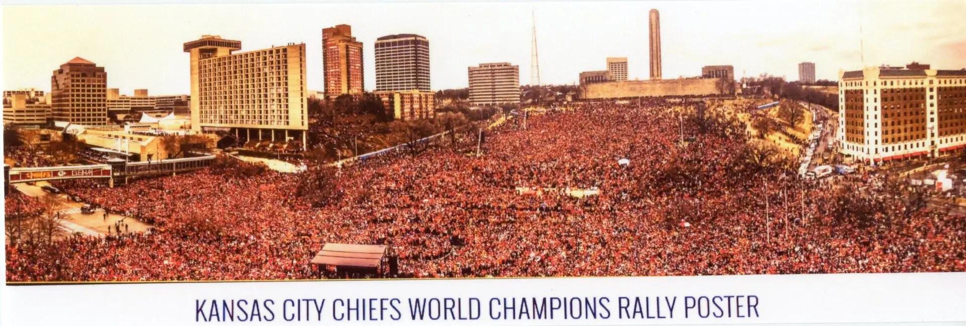 kansas city chiefs world champions rally poster framed