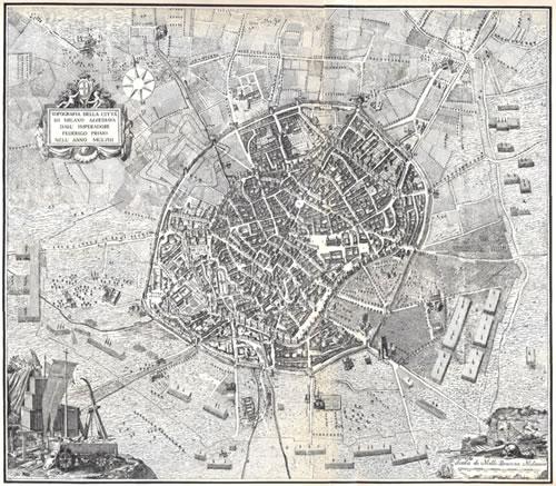 Mappa topografica di Milano