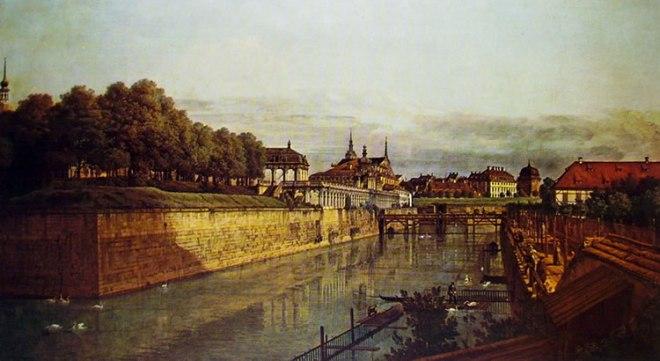 Bellotto: Dresda - L'antico fossato dello Zwinger dall'Orangerie verso la città.