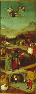 Hieronymus Bosch: Trittico delle tentazioni - Raffigurazione nell'interno dell'anta sinistra: Il Volo e la Caduta di Sant'Antonio