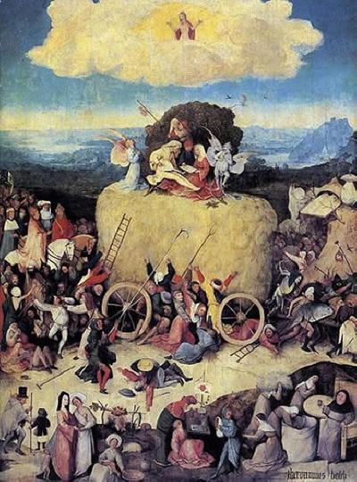 """Hieronymus Bosch: Parte centrale del Trittico del fieno: """"Il carro del fieno"""""""
