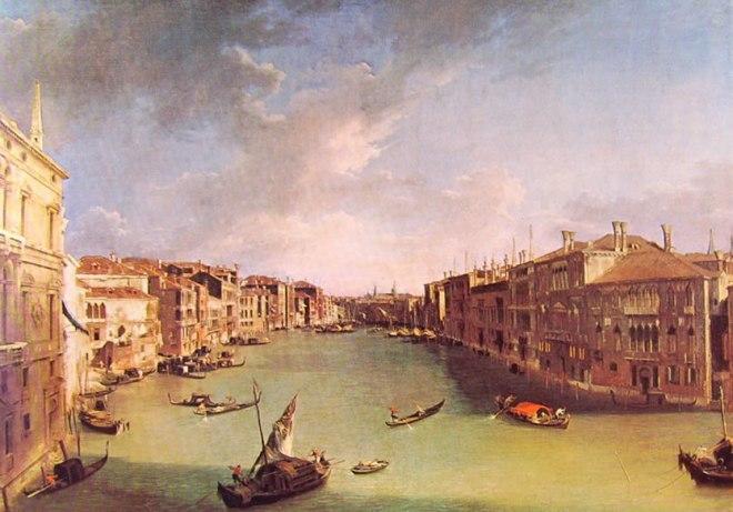 Il Canaletto: Il canal grande da campo San Vio presso il ponte di Rialto