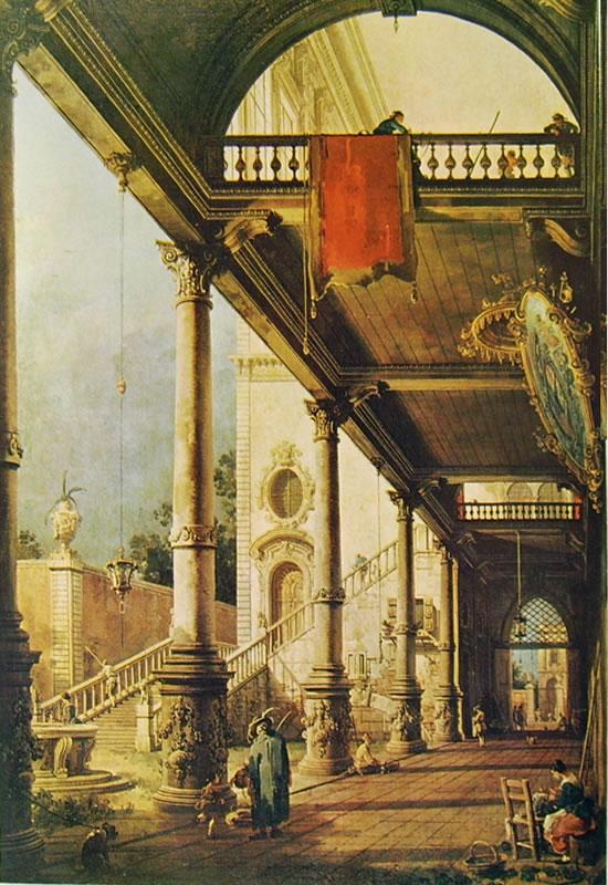 Il Canaletto: Capriccio con colonnato e cortile