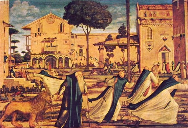 Carpaccio: San Gerolamo e il leone nel convento