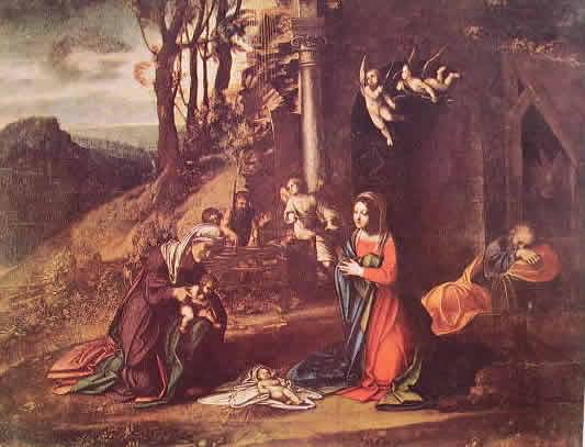 Correggio - Natività con i santi Elisabetta e Giovannino