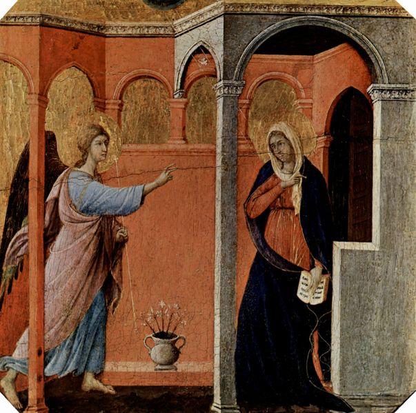 Duccio di Buoninsegna: Maestà - Predella della Maestà (recto) - L'Annunciazione