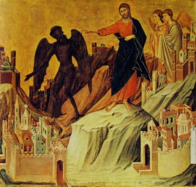 Duccio di Buoninsegna: Maestà - La tentazione di Cristo sul monte,
