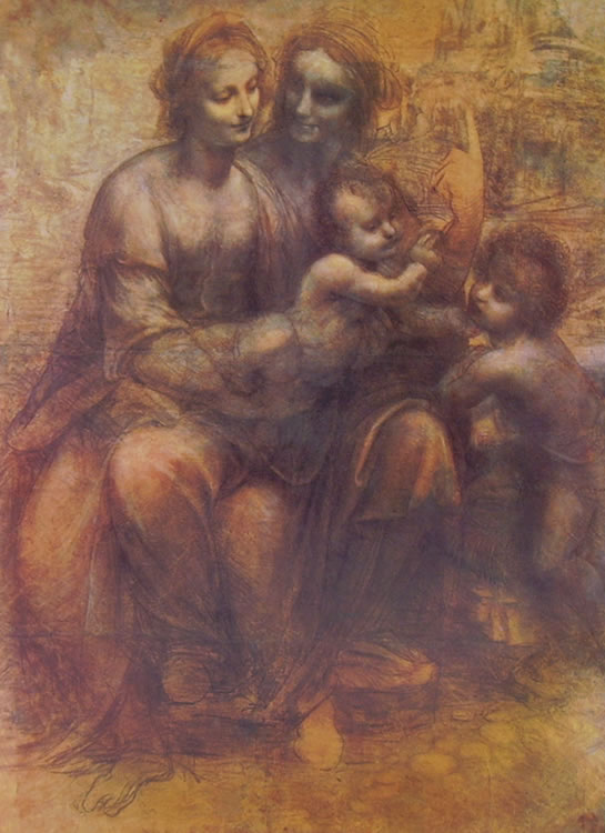 Leonardo: Cartone - Sant'Anna, la Madonna, il Bambino e San Giovannino,