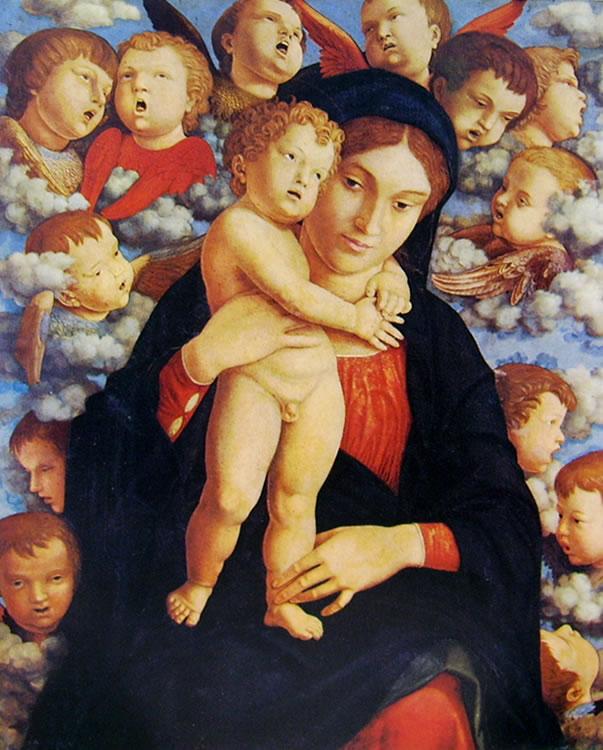 Mantegna: Madonna col Bambino e cherubini