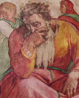 Michelangelo - Volta della Cappella Sistina, particolare del profeta Geremia