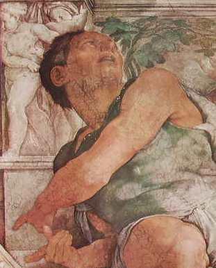 Michelangelo - Particolare del profeta Giona, Vaticano Volta della Cappella Sistina