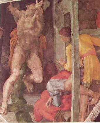 Michelangelo - Cappella Sistina, particolare della Punizione di Aman