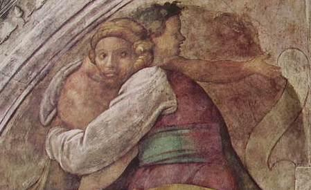 Michelangelo - Cappella Sistina, part. Figure della Lunetta