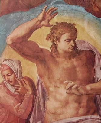 Michelangelo - Il Giudizio Universale, Capp. Sistina in Vaticano, particolare delle figure 13 e 14: La madonna e il Cristo giudice