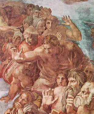 Michelangelo - Giudizio Universale, particolare delle figure dei Beati